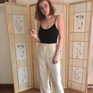 Pants - Cream silky wide leg trousers